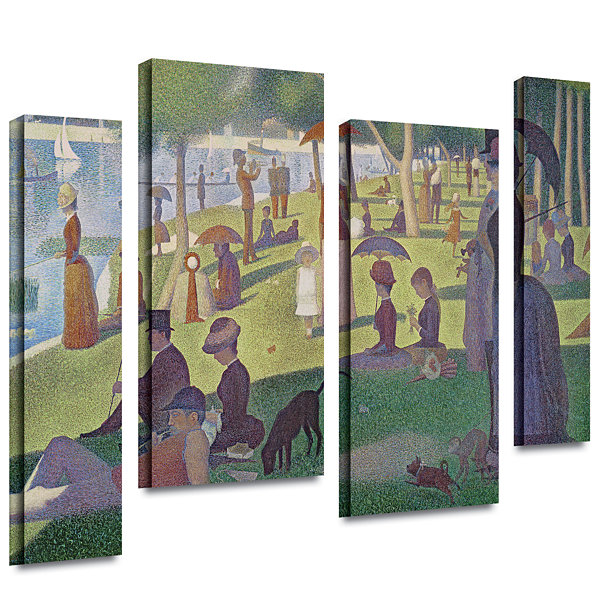 Brushstone A Sunday Afternoon On The Island of LaGrande Jatte 4-pc. Gallery Wrapped Staggered Canvas Wall Art