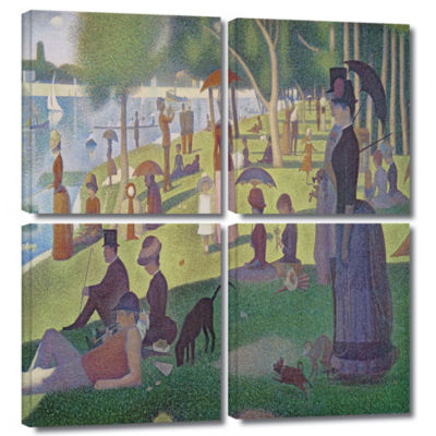 Brushstone A Sunday Afternoon On The Island of LaGrande Jatte 4-pc. Square Gallery Wrapped Canvas Wall Art