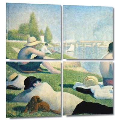 Brushstone Bathing At Asnieres 4-pc. Square Gallery Wrapped Canvas Wall Art