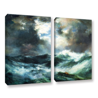 Brushstone Moonlit Shipwreck At Sea; 1901 2-pc. Gallery Wrapped Canvas Wall Art