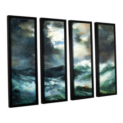 Brushstone Moonlit Shipwreck At Sea; 1901 4-pc. Floater Framed Canvas Wall Art