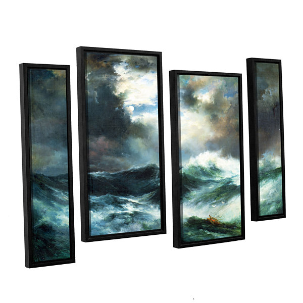 Brushstone Moonlit Shipwreck At Sea; 1901 4-pc. Floater Framed Staggered Canvas Wall Art