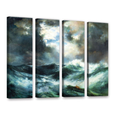 Brushstone Moonlit Shipwreck At Sea; 1901 4-pc. Gallery Wrapped Canvas Wall Art