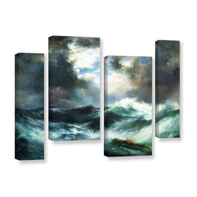 Brushstone Moonlit Shipwreck At Sea; 1901 4-pc. Gallery Wrapped Staggered Canvas Wall Art