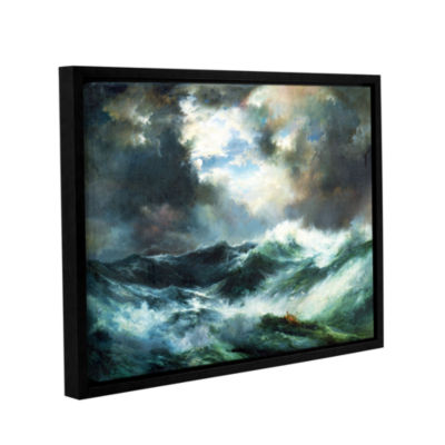 Brushstone Moonlit Shipwreck At Sea; 1901 GalleryWrapped Floater-Framed Canvas Wall Art