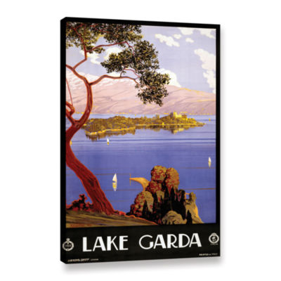 Brushstone Vintage Poster for Lake Garda; Italy Gallery Wrapped Canvas Wall Art