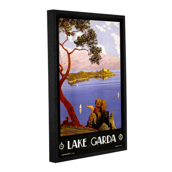 Brushstone Vintage Poster for Lake Garda; Italy Gallery Wrapped Floater-Framed Canvas Wall Art