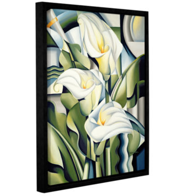 Brushstone Cubist Lilies Gallery Wrapped Floater-Framed Canvas Wall Art