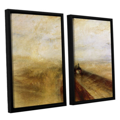 Brushstone Rain Steam and Speed; The Great WesternRailway 2-pc. Floater Framed Canvas Wall Art