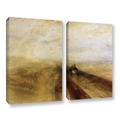 Brushstone Rain Steam and Speed; The Great WesternRailway 2-pc. Gallery Wrapped Canvas Wall Art