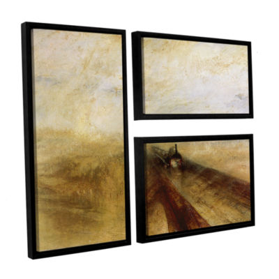 Brushstone Rain Steam and Speed; The Great WesternRailway 3-pc. Flag Floater Framed Canvas Wall Art