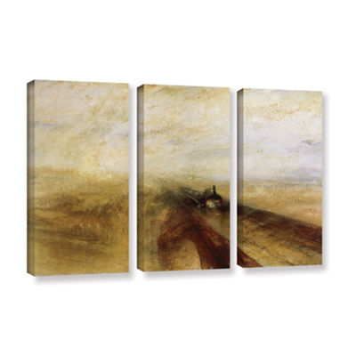 Brushstone Rain Steam and Speed; The Great WesternRailway 3-pc. Gallery Wrapped Canvas Wall Art