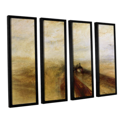 Brushstone Rain Steam and Speed; The Great WesternRailway 4-pc. Floater Framed Canvas Wall Art
