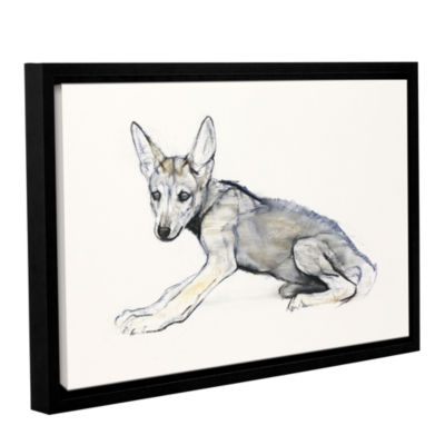 Brushstone Adolescent Arabian Wolf Pup Gallery Wrapped Floater-Framed Canvas Wall Art