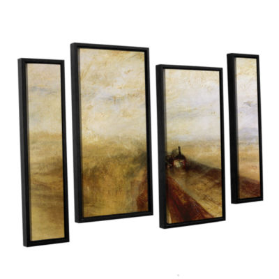 Brushstone Rain Steam and Speed; The Great WesternRailway 4-pc. Floater Framed Staggered Canvas Wall Art