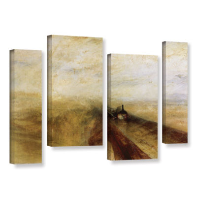 Brushstone Rain Steam and Speed; The Great WesternRailway 4-pc. Gallery Wrapped Staggered Canvas Wall Art