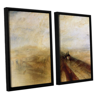 Brushstone Rain Steam and Speed; The Great WesternRailway II 2-pc. Floater Framed Canvas Wall Art