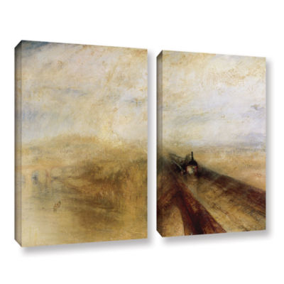 Brushstone Rain Steam and Speed; The Great WesternRailway II 2-pc. Gallery Wrapped Canvas Wall Art