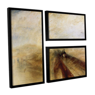 Brushstone Rain Steam and Speed; The Great WesternRailway II 3-pc. Flag Floater Framed Canvas WallArt