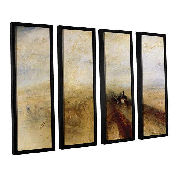 Brushstone Rain Steam and Speed; The Great WesternRailway II 4-pc. Floater Framed Canvas Wall Art