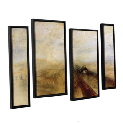 Brushstone Rain Steam and Speed; The Great WesternRailway II 4-pc. Floater Framed Staggered CanvasWall Art