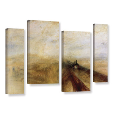 Brushstone Rain Steam and Speed; The Great WesternRailway II 4-pc. Gallery Wrapped Staggered CanvasWall Art