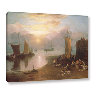 Brushstone Sun Rising Through Vapour; Fisherman Cleaning and Selling Fish Gallery Wrapped Canvas Wall Art