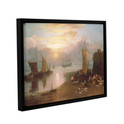 Brushstone Sun Rising Through Vapour; Fisherman Cleaning and Selling Fish Gallery Wrapped Floater-Framed Canvas Wall Art