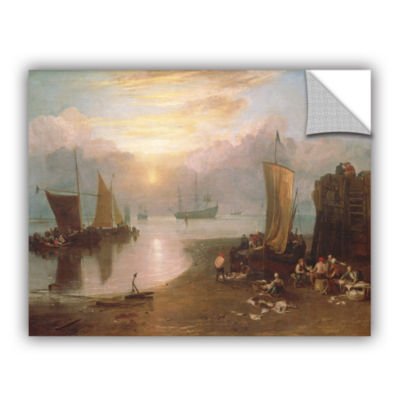 Brushstone Sun Rising Through Vapour; Fisherman Cleaning and Selling Fish Removable Wall Decal