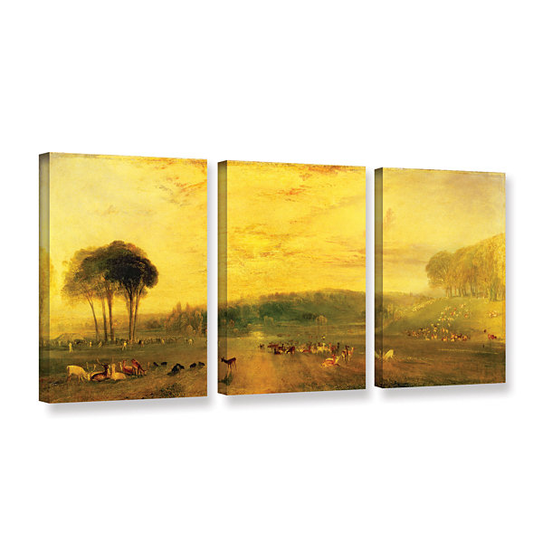 Brushstone Sunset; Fighting Bucks 3-pc. Gallery Wrapped Canvas Wall ...
