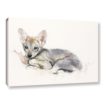Brushstone Curled Arabian Wolf Pup Gallery WrappedCanvas Wall Art