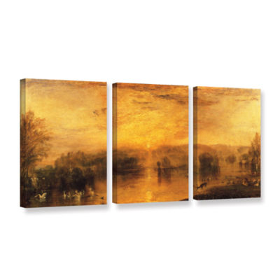 Brushstone The Lake; Petworth Sunset; a Stag Drinking 3-pc. Gallery Wrapped Canvas Wall Art