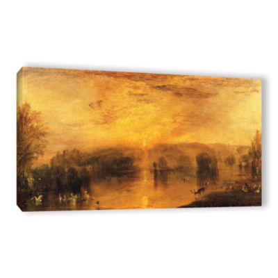 Brushstone The Lake; Petworth Sunset; a Stag Drinking Gallery Wrapped Canvas Wall Art
