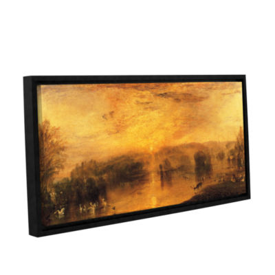 Brushstone The Lake; Petworth Sunset; a Stag Drinking Gallery Wrapped Floater-Framed Canvas Wall Art