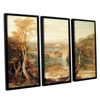 Brushstone The River Wharfe with a Distant View ofBarden Tower 3-pc. Floater Framed Canvas Wall Art