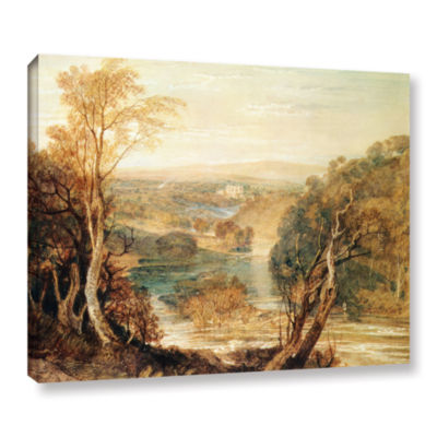 Brushstone The River Wharfe with a Distant View ofBarden Tower Gallery Wrapped Canvas Wall Art