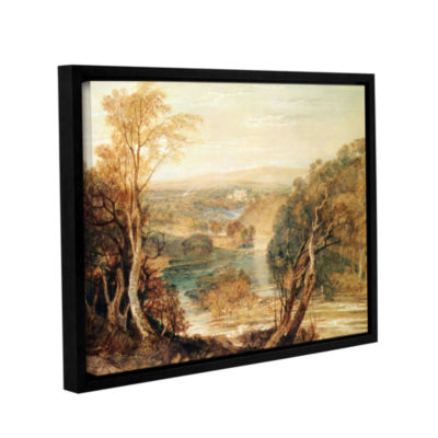 Brushstone The River Wharfe with a Distant View ofBarden Tower Gallery Wrapped Floater-Framed Canvas Wall Art
