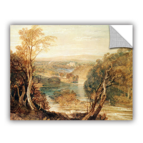 Brushstone The River Wharfe with a Distant View ofBarden Tower Removable Wall Decal