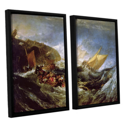 Brushstone Wreck of a Transport Ship 2-pc. FloaterFramed Canvas Wall Art
