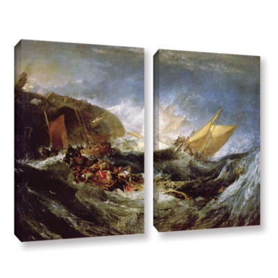 Brushstone Wreck of a Transport Ship 2-pc. GalleryWrapped Canvas Wall Art
