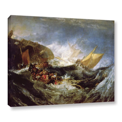 Brushstone Wreck of a Transport Ship Gallery Wrapped Canvas Wall Art