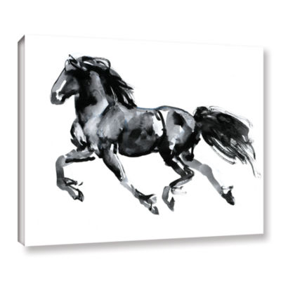 Brushstone Flying Friesian Gallery Wrapped CanvasWall Art