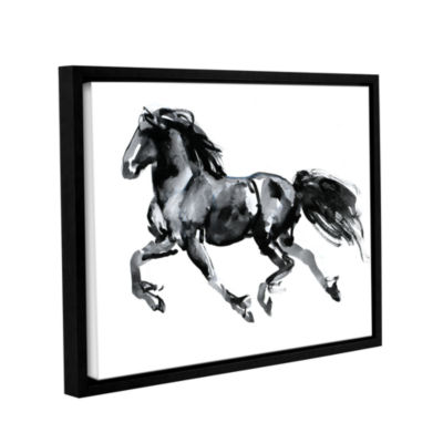Brushstone Flying Friesian Gallery Wrapped Floater-Framed Canvas Wall Art