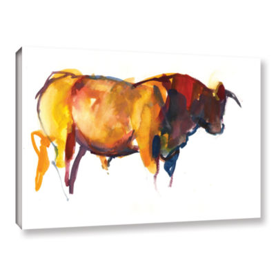Brushstone Sunset Bull Gallery Wrapped Canvas WallArt