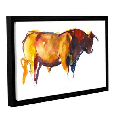Brushstone Sunset Bull Gallery Wrapped Floater-Framed Canvas Wall Art