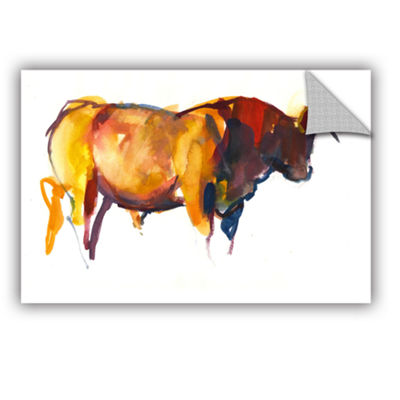 Brushstone Sunset Bull Removable Wall Decal