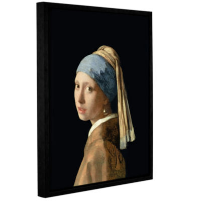 Brushstone Girl with The Pearl Earring Gallery Wrapped Floater-Framed Canvas Wall Art