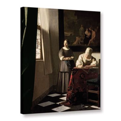 Brushstone Lady Writing a Letter with Her Maid Gallery Wrapped Canvas Wall Art