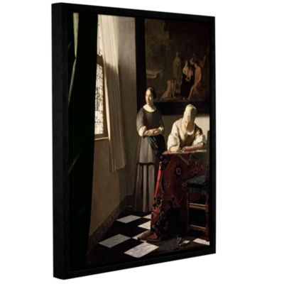 Brushstone Lady Writing a Letter with Her Maid Gallery Wrapped Floater-Framed Canvas Wall Art