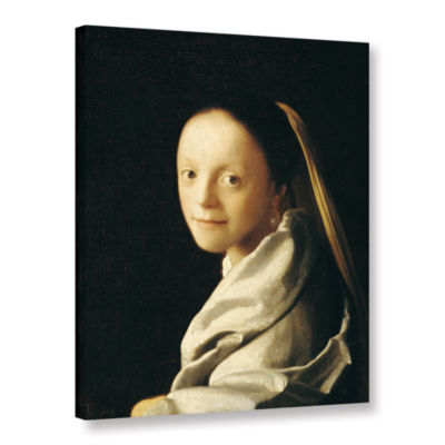 Brushstone Portrait of a Young Woman Gallery Wrapped Canvas Wall Art